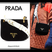 PRADA PIONNIERE Blended Fabrics 2WAY Bi-color Plain Leather Elegant Style
