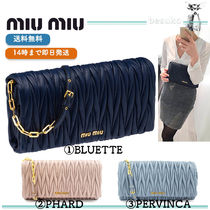 MiuMiu MATELASSE Lambskin 2WAY Chain Plain Party Style Clutches