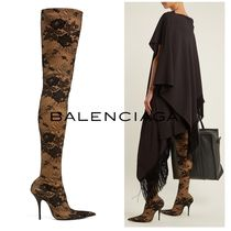 BALENCIAGA Flower Patterns Pin Heels Elegant Style Over-the-Knee Boots