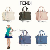FENDI 3JOURS Calfskin 2WAY Bi-color Elegant Style Handbags