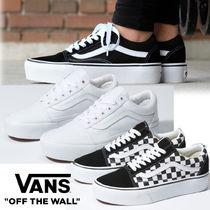 VANS OLD SKOOL Platform Lace-up Casual Style Unisex Street Style Plain