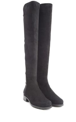 5050 stretch suede long boots Black