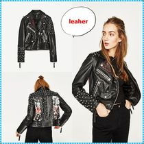 ZARA Leopard Patterns Studded Leather Biker Jackets