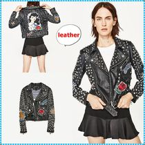 ZARA Stripes Studded Leather Biker Jackets