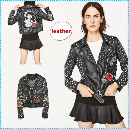 Stripes Casual Style Studded Leather Biker Jackets