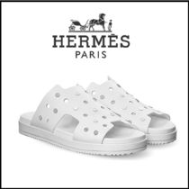HERMES Open Toe Casual Style Leather Slippers Sandals