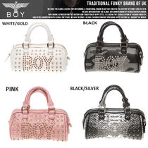 BOY LONDON Casual Style Faux Fur Studded Totes
