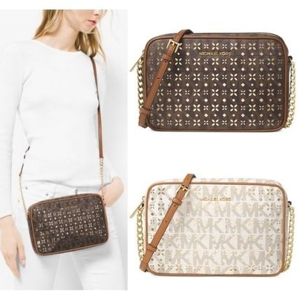 Michael Kors JET SET TRAVEL 2017 18AW Flower Patterns Monogram Chain PVC Clothing Elegant Style