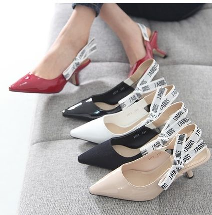Lettering Sling Back pumps