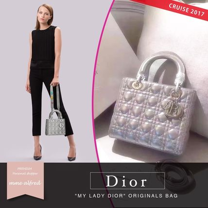 Christian Dior LADY DIOR Casual Style 2WAY Plain Leather Shoulder Bags