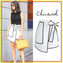 Chicwish Short Casual Style Nylon Bi-color Plain Skirts