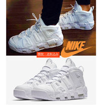 Nike AIR MORE UPTEMPO Unisex Street Style Leather Sneakers