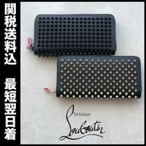 Christian Louboutin Studded Plain Leather Long Wallets