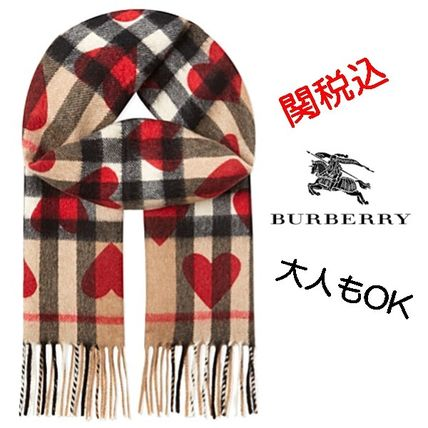 Adults also OK BURBERRY check x heart cashmere scarf
