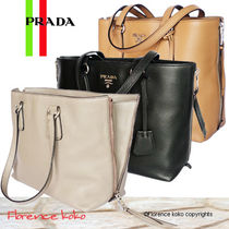 PRADA Side Zipper Vitello Phenix Tote Bag (Caramel Brown/Black)