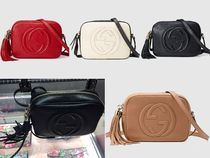 GUCCI Soho Plain Leather Elegant Style Shoulder Bags