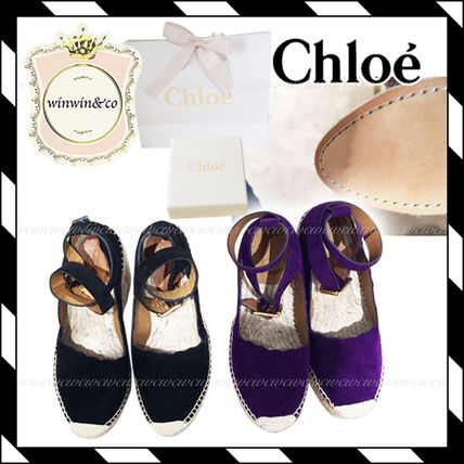 Chloe Plain Toe Suede Plain Elegant Style Wedge Pumps & Mules