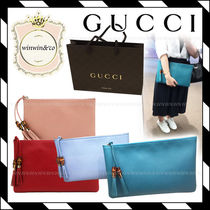 GUCCI Calf Leather Clutch Bag (Pink/Red/Light Blue/Turquoise)