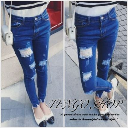 Slim jeans damage processing hole Open Cool well