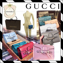 GUCCI Monogram Leather Elegant Style Shoulder Bags