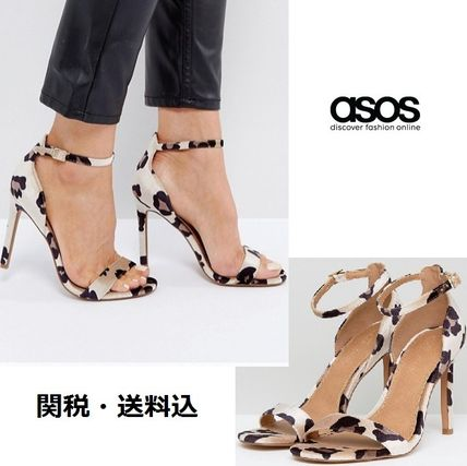 ASOS Leopard Patterns Open Toe Casual Style Velvet Pin Heels