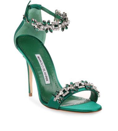 Open Toe Plain Pin Heels Party Style With Jewels