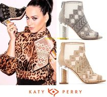 Katy Perry Open Toe Suede Plain Block Heels Elegant Style