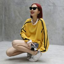 Crew Neck Casual Style Long Sleeves Oversized Tops