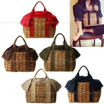 Blended Fabrics Straw Bags