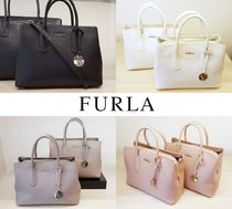 FURLA 2WAY Plain Leather Elegant Style Handbags