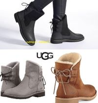 UGG Australia Round Toe Casual Style Street Style Plain Leather Flat Boots