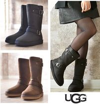 UGG Australia SUTTER Round Toe Rubber Sole Plain Leather Flat Boots