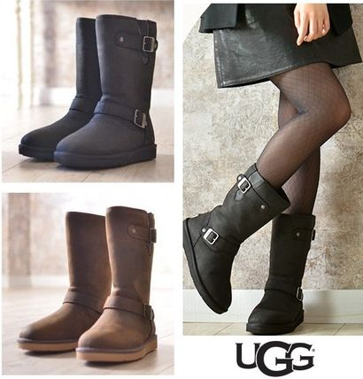 ... UGG Australia Flat Round Toe Rubber Sole Plain Leather Flat Boots ...