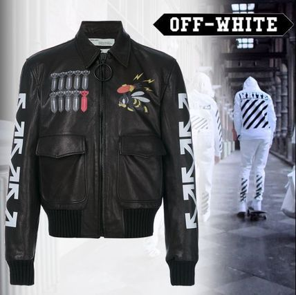 popular Off-White c/o Virgil Abloh leather bomber jacket