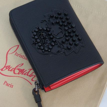Christian Louboutin Studded Plain Leather Folding Wallets