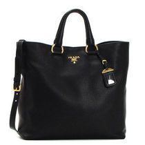 PRADA A4 Plain Leather Elegant Style Totes