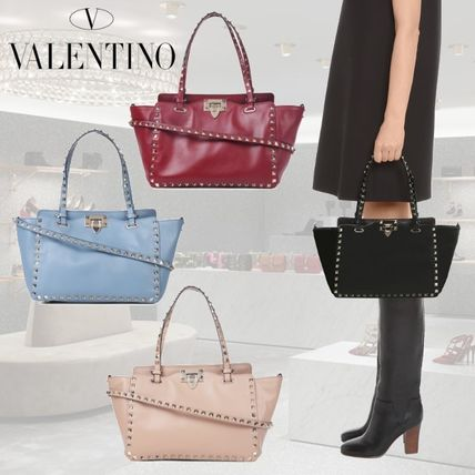 VALENTINO Calfskin Studded 2WAY Plain Totes