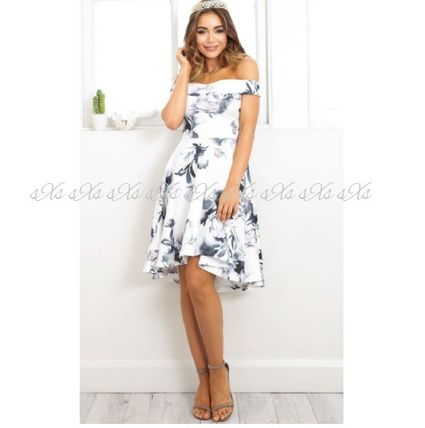 Flower Patterns Flared Medium Party Style Dresses