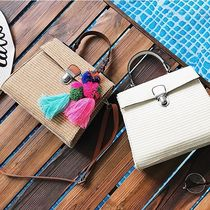 Casual Style Cambus Tassel 2WAY Plain Straw Bags