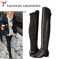CHINESE LAUNDRY Round Toe Casual Style Plain Leather Over-the-Knee Boots