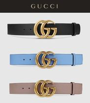 GUCCI GG Marmont Gold Plated Double G Buckle Leather Belt (Black/Blue/Pink)