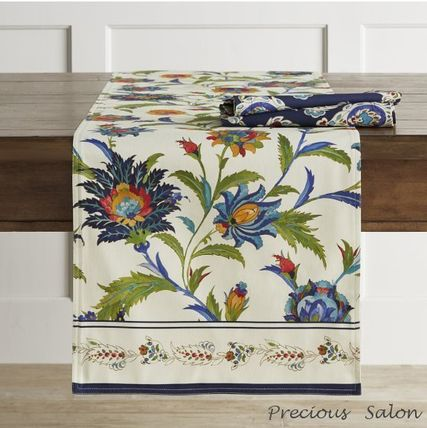 Williams Sonoma vivid floral table runner