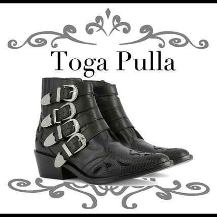 Pulla black Leather ankle boots