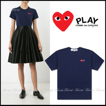 COMME des GARCONS Crew Neck Heart Casual Style Cotton Short Sleeves T-Shirts