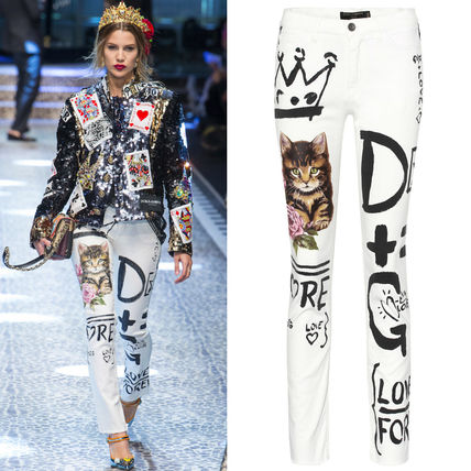 Dolce & Gabbana 17-18 AW DG1221 LOOK83 CAT PRINTED SLIM FIT JEANS