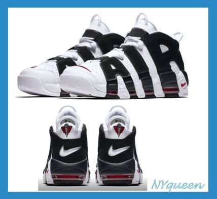Nike AIR MORE UPTEMPO Plain Toe Street Style Plain Leather Sneakers