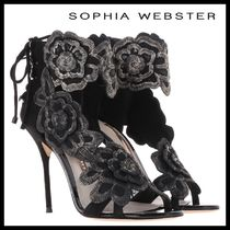 SOPHIA WEBSTER Flower Patterns Open Toe Lace-up Suede Plain Pin Heels