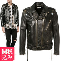 Saint Laurent Short Star Blended Fabrics Plain Leather Biker Jackets