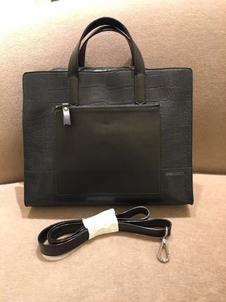 """JIMMY CHOO """"in stock"""" Croc-style briefcase GILMORE Navy"""