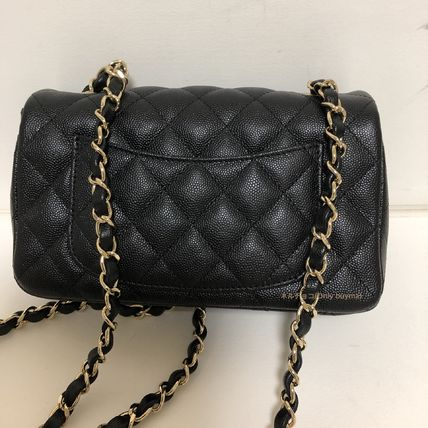 CHANEL Shoulder Bags Calfskin Chain Plain Elegant Style Shoulder Bags 5